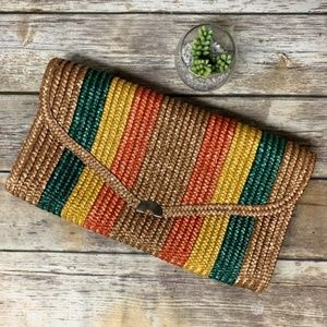 Vintage 70s 80s Striped Woven Straw Boho Clutch